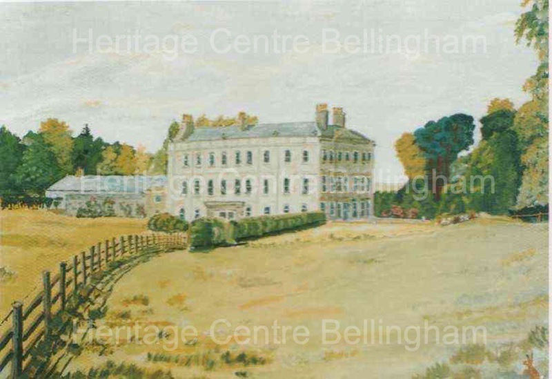 Postcard print of watercolour of Hesleyside, by John Charlton. Message on reverse dated 28.3.1999 from John Charlton to Ken Gaskin re Heritage Centre